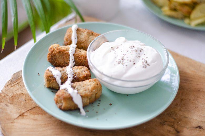 Croquetas veganas caseras, rellenas de champiñones con berenjena.