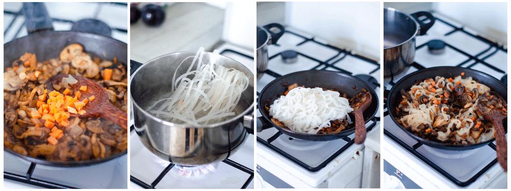 Cocemos los tallarines unos 4 minutos en abundante agua.