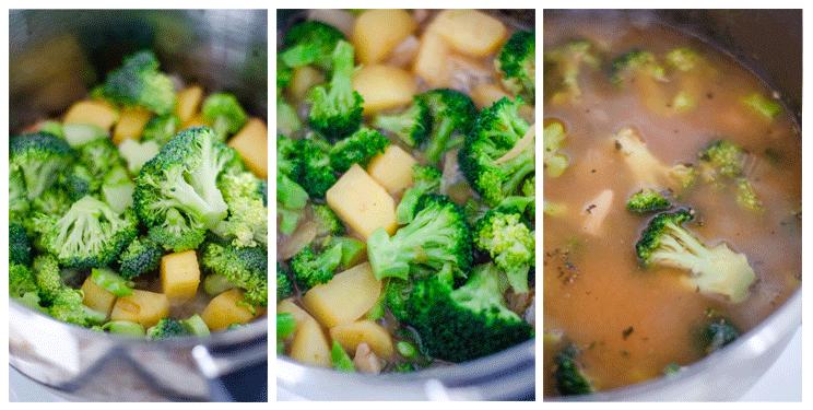 Sopa de brócoli, patata y garbanzos.