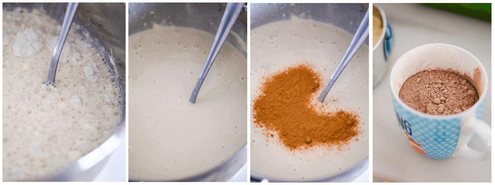 Mezclamos bien y añadimos la canela y una taza de cacao.