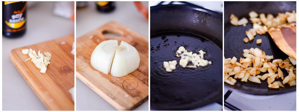 Salteamos el ajo y la cebolla que acompañará al Jackfruit.