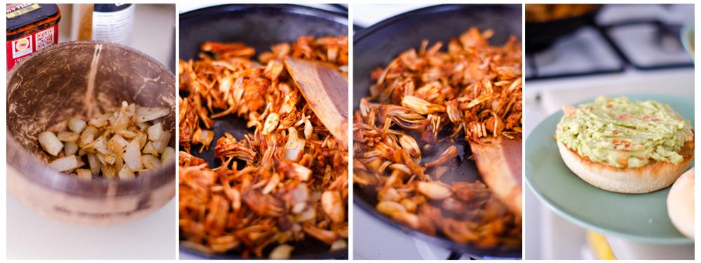 Separamos parte de la cebolla y añadimos el Jackfruit a la sartén.