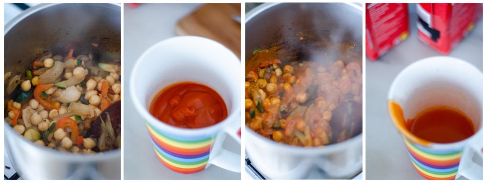 Añadimos el tomate y el agua, que será la base de la salsa de curry.