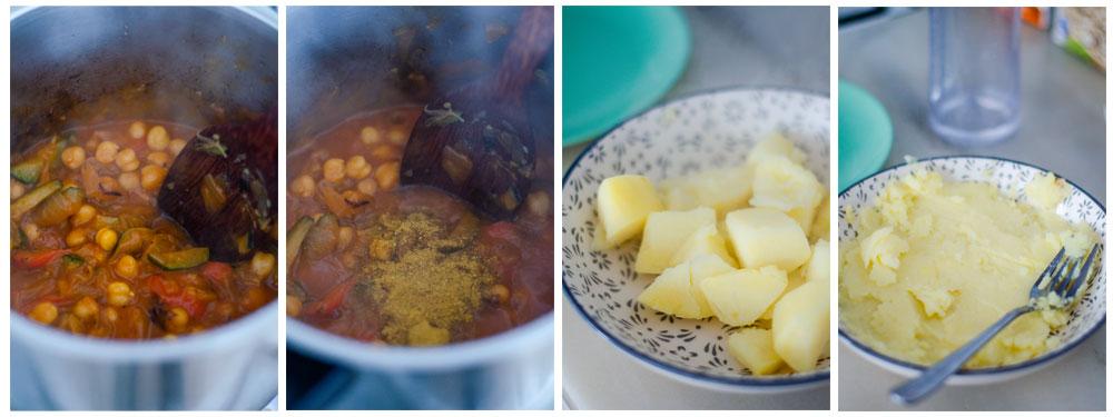 Añadimos el curry a la salsa y mezclamos con los garbanzos.