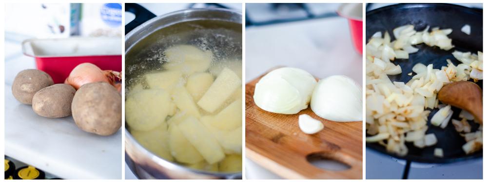 Cocemos las patatas y salteamos la cebolla.