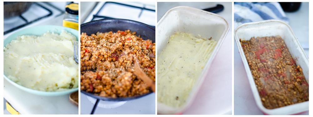 Montamos el pastel de patata, poniendo patata en la base y en la capa superior.