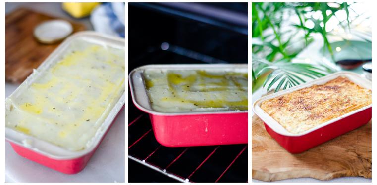 Horneamos el pastel de patata hasta que se gratine la parte superior.