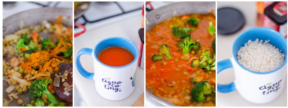 Con las verduras listas, añadimos el tomate natural triturado.