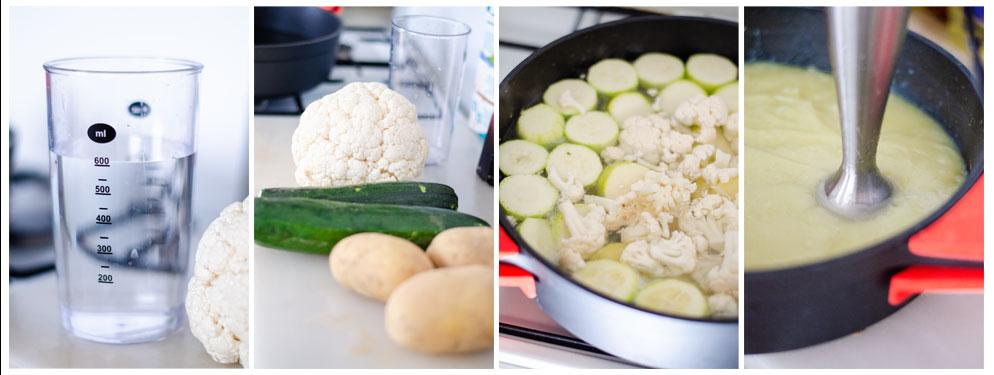 Preparamos las verduras, las cocemos y trituramos hasta conseguir una deliciosa crema de coliflor.