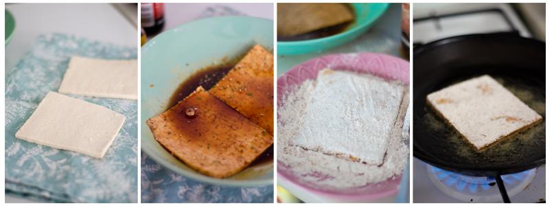 Cortamos los filetes de tofu, maceramos, rebozamos y doramos en la sartén.