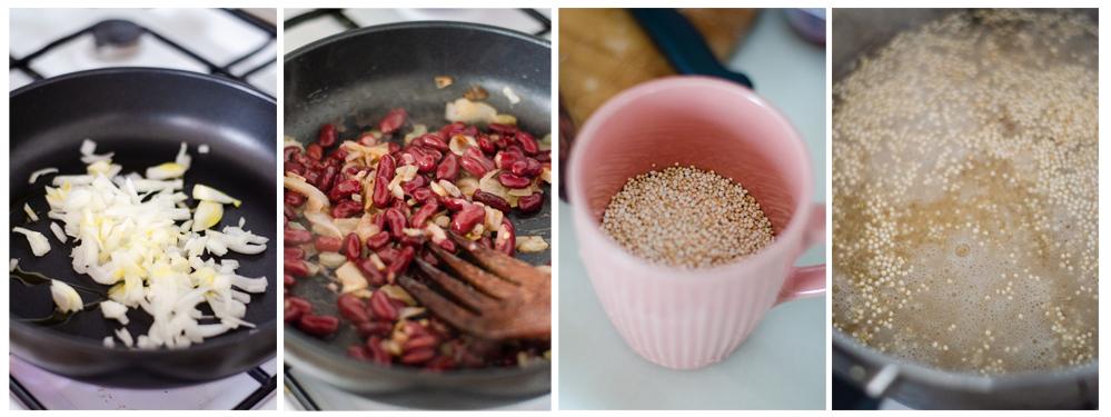 Cocemos la quinoa y salteamos la cebolla y las alubias de nuestro Bowl vegano.