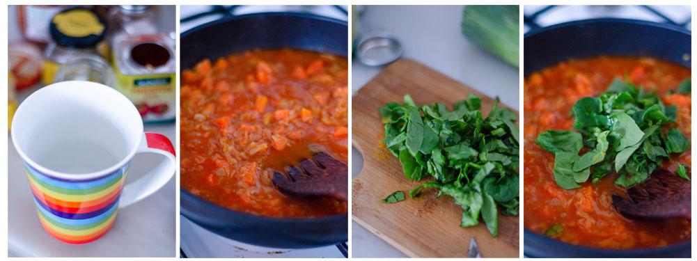 Añadimos el tomate, el agua, dejamos en ebullición suave y añadimos las espinacas.
