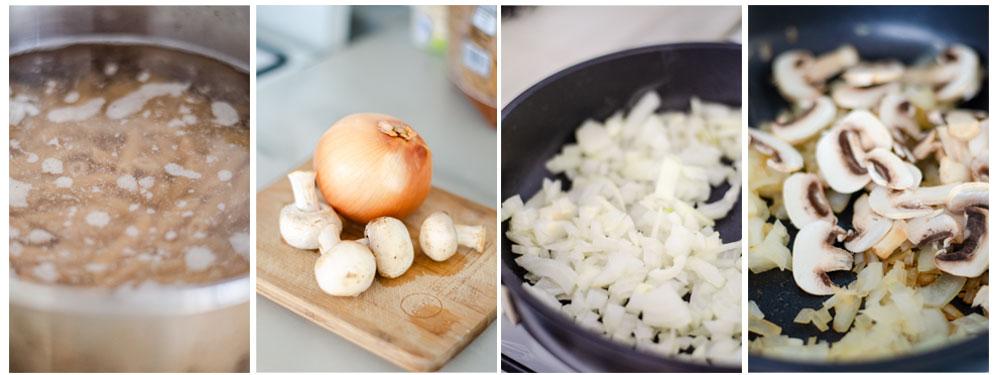 Salteamos los vegetales que acompañarán la bechamel y cocemos los macarrones