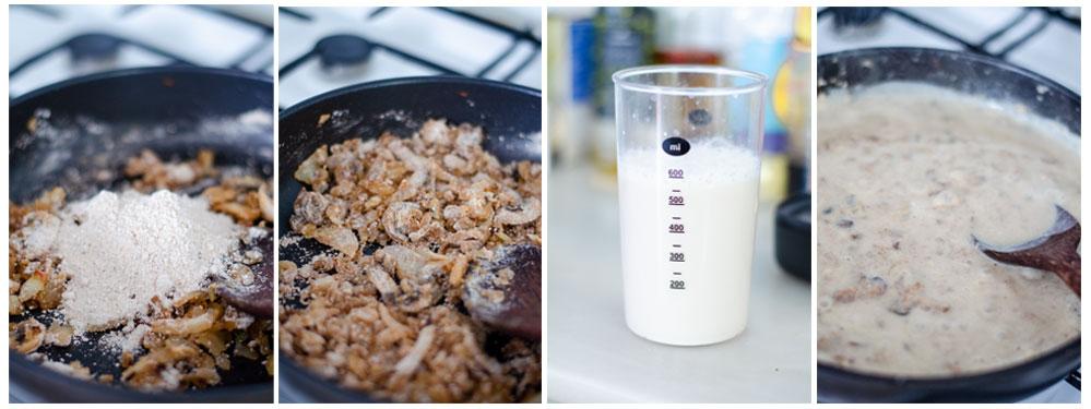 Añadimos la harina al salteado junto con la leche de soja, para crear la bechamel vegana.