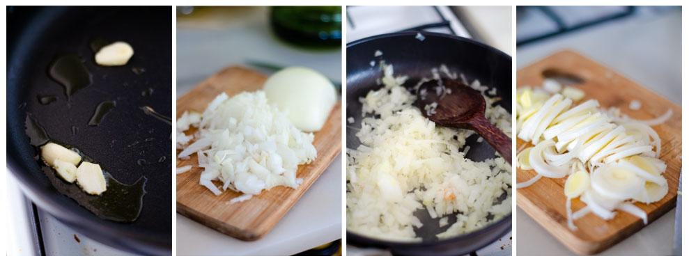 Salteamos las verduras para la salsa de coliflor.