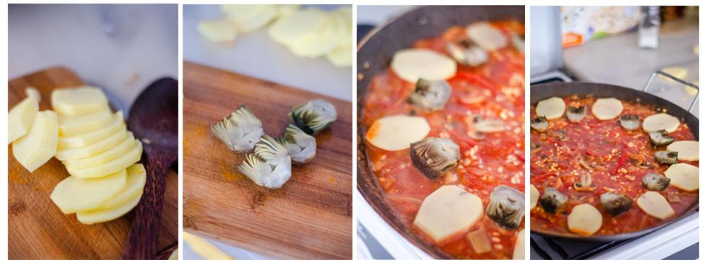 Añadimos las patatas y las alcachofas.