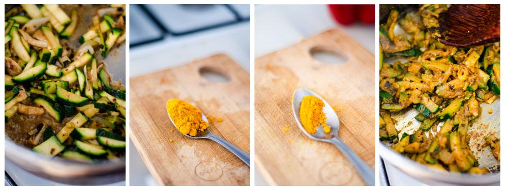 Añadimos una cucharadita y media de curry a nuestro salteado de verduras.