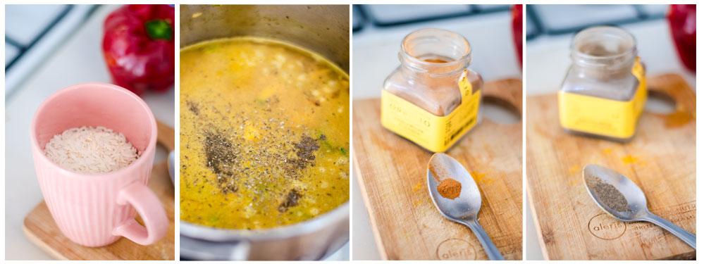 Añadimos el arroz al salteado, junto con el agua, canela y pimienta negra.