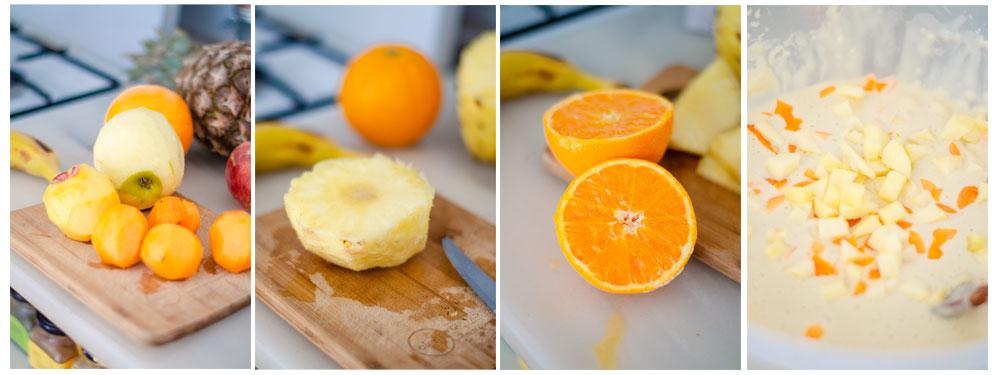 Añadimos las frutas al bizcocho vegano.
