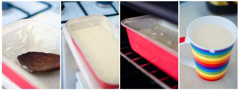 Engrasamos un molde y ponemos dentro la masa. Horneamos.