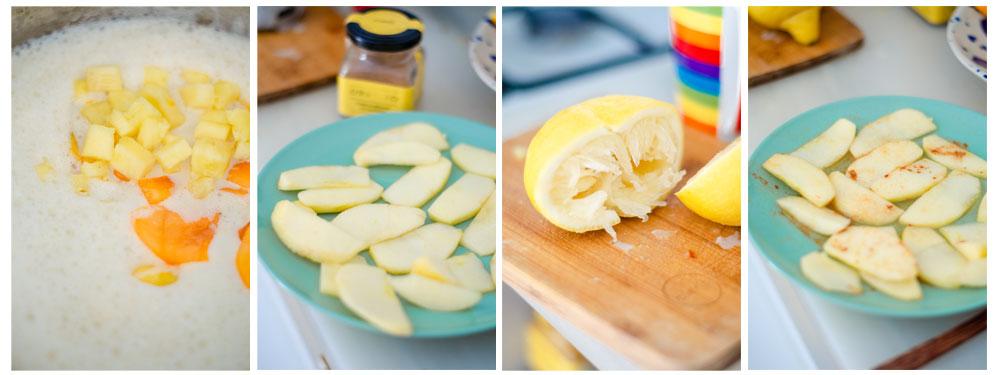 Preparamos la manzana para hornear.