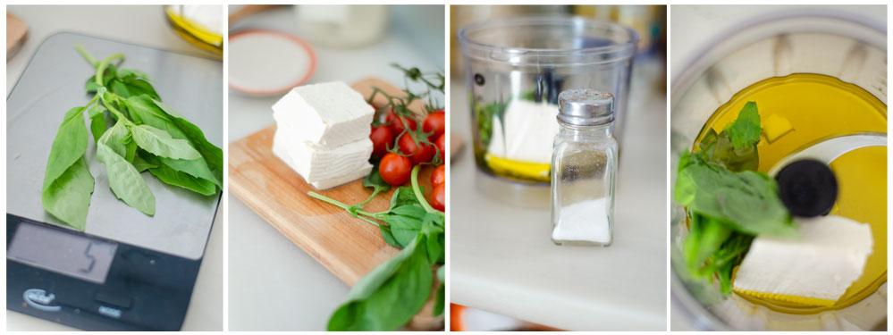 Trituramos la albahaca, tofu, sal y un diente de ajo para la salsa pesto vegana.