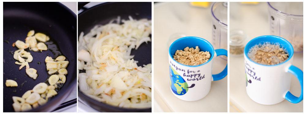 Salteamos el ajo y la cebolla e hidratamos la soja.