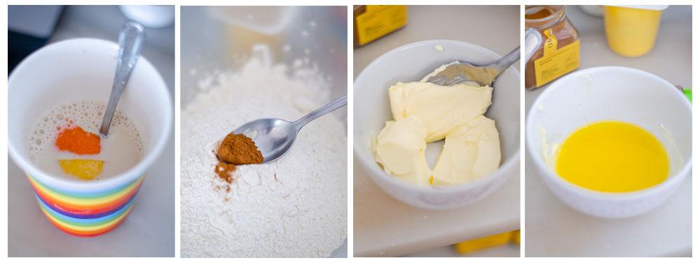 Saboziramos la leche y le añadimos canela y margarina vegetal a la harina.