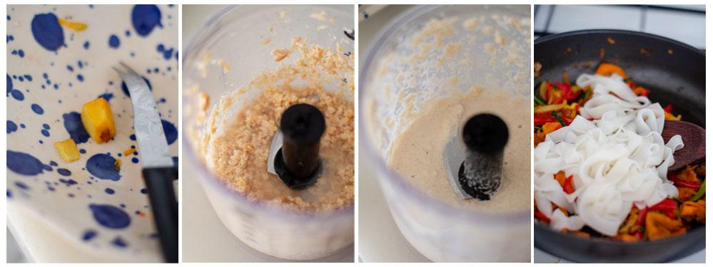 Preparamos la salsa de anacardos y jengibre y los tallarines de arroz.