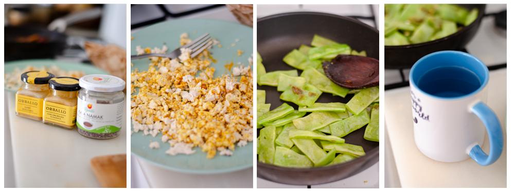 preparar los huevos revueltos de tofu y las judías planas