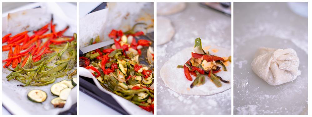 Rellenamos los dumplings caseros con las verduras asadas