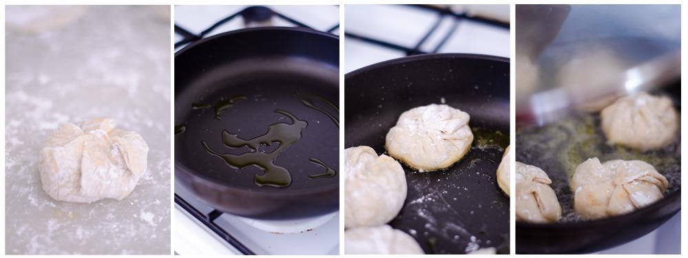 Sofreimos los dumplings por debajo y añadimos agua para hacerlos al vapor