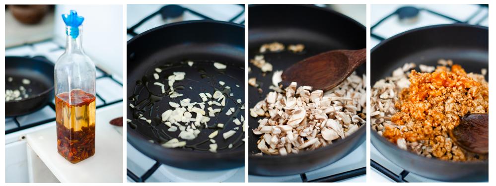 Salteamos los ajos, champiñones y soja con el aceite picante.