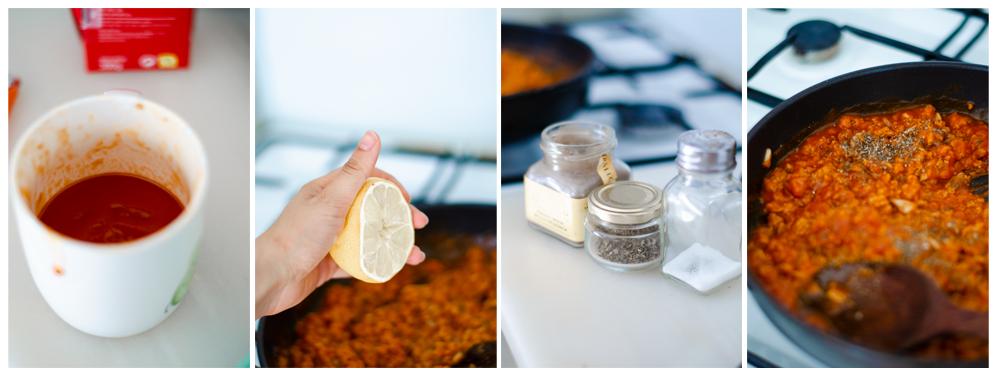 Especiamos y añadimos un chorrito de limón al relleno de los molletes.