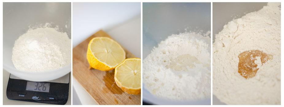 Pesamos la harina y mezclamos con el limón y el sirope