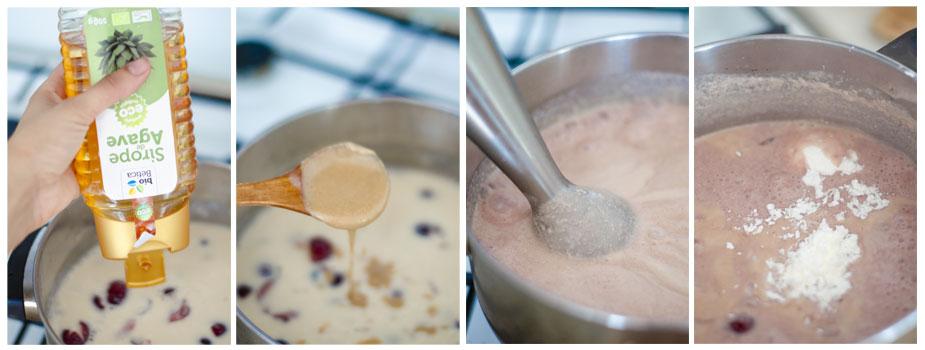 Añadimos sirope para edulcorar, crema de frutos secos y la harina de maíz para espesar la crema