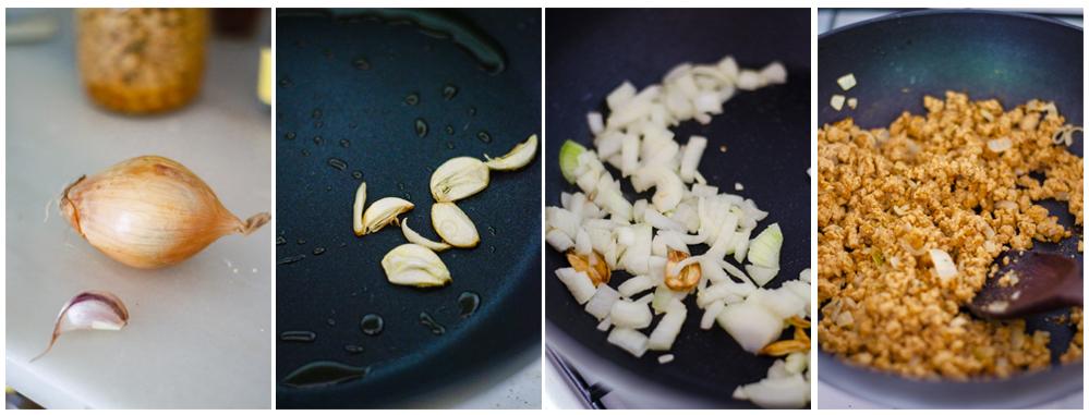 Salteamos la cebolla, ajo y la soja texturizada.
