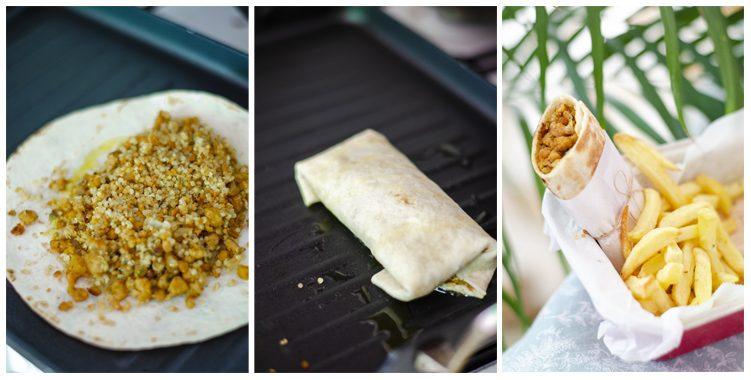 Rellanamos con la quinoa y doramos el burrito.