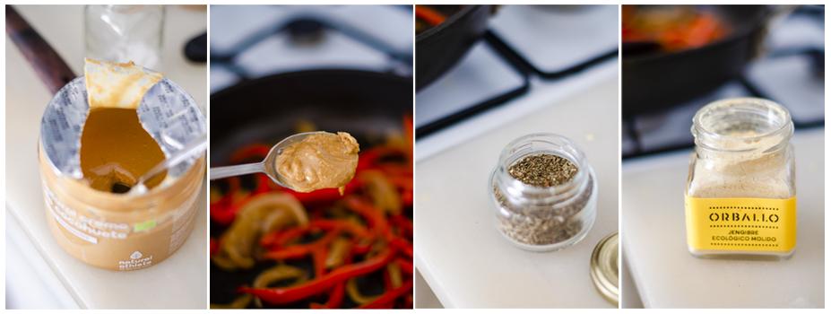 Añadimos la crema de cacahuete, albahaca y jengibre en polvo