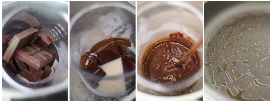 Fundimos el chocolate negro y engrasamos la sartén