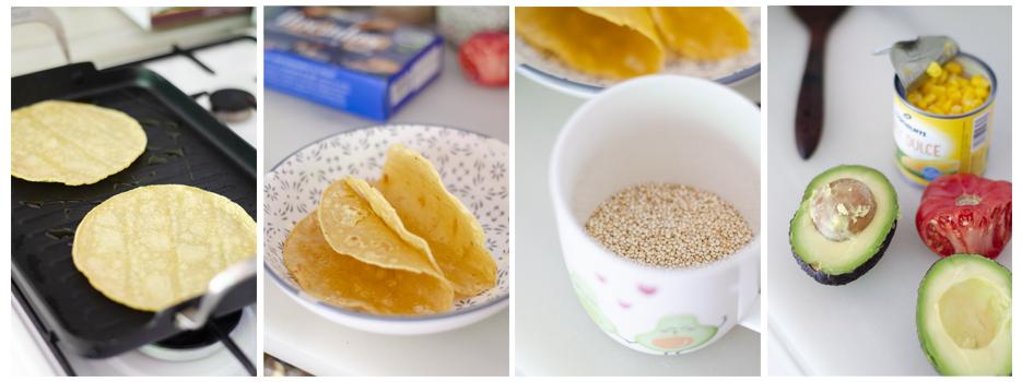 Tostamos las tortillas para tacos y cocemos la quinoa