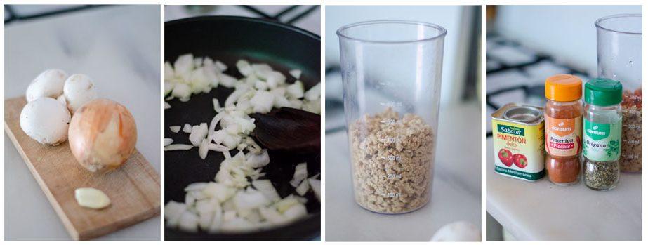 Cortamos la cebolla e hidratamos la soja texturizada