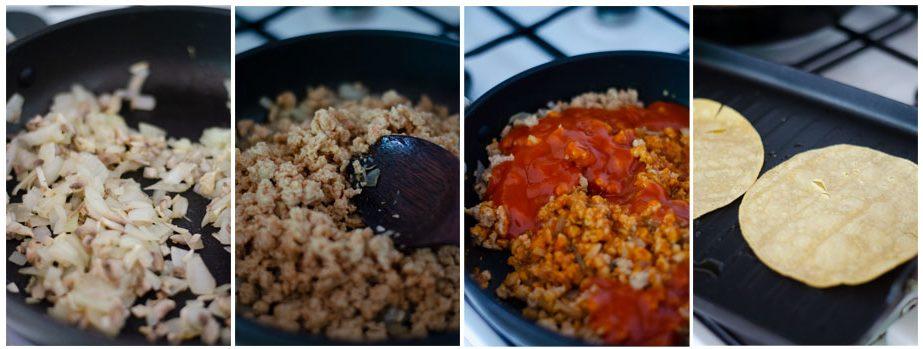 Salteamos la cebolla, setas y soja texturizada.