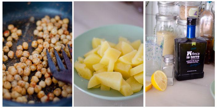 Mezclamos la patata cocida con agua, limón, aceite de oliva y especias.