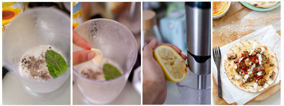 Damos sabor a la nata de soja con hierbabuena, pimienta, limón y ajo