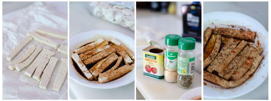 Maceramos el tofu con salsa de soja y especias