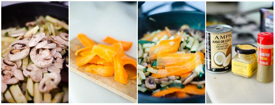 Continuamos salteando las verduras para el curry