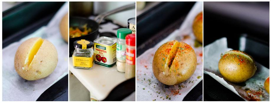 Cocemos y especiamos las patatas antes de meterlas al horno