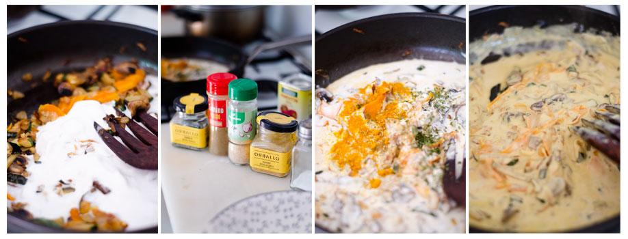 Añadimos la leche de coco y las especias al curry de verduras