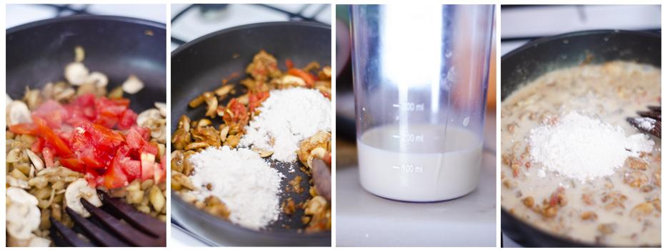 Salteamos el tomate, añadimos harina y leche de soja sin azúcar para la bechamel.